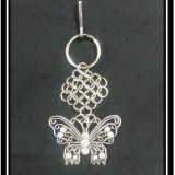 Silver Butterfly Chainmaille Keychain