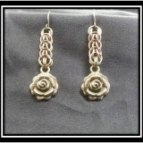 Persian Chainmaille Earrings with Rose Charms
