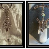 Skeleton Key and Guardian Angel Chainmaille Keychain