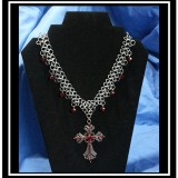 Gothic Cross and Crystal Chainmalle Necklace