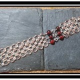 Beaded Copper & Silver Chainmaille Bracelet