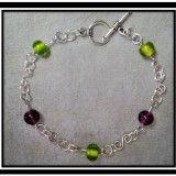 Purple & Green Beaded Bracelet
