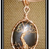 Copper and Onyx Tree of Life Necklace