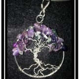 "Fluorite & Amethyst ""Tree of Life"" Necklace"