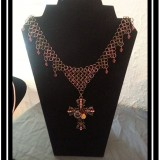 Antique Gold & Copper Chainmaille Necklace with Swarovski Crystal